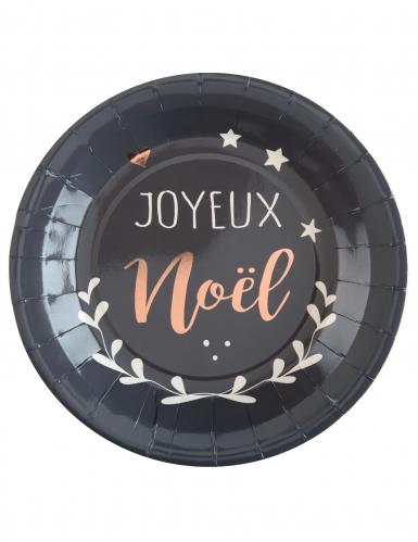 10 Assiettes en carton Coeur de Noël grises 23 cm