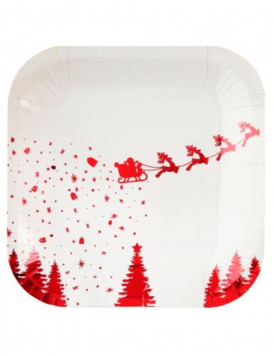 10 Petites assiettes en carton Traîneau du Père Noël blanc et rouge 18 cm