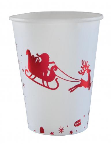 10 Gobelets en carton Traîneau du Père Noël blanc et rouge 12 cl