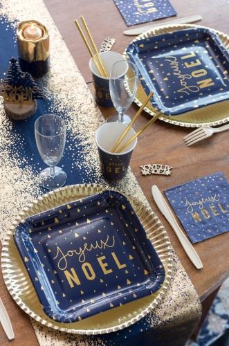 10 Assiettes en carton Joyeux Noël bleu marine et or 23 cm-1