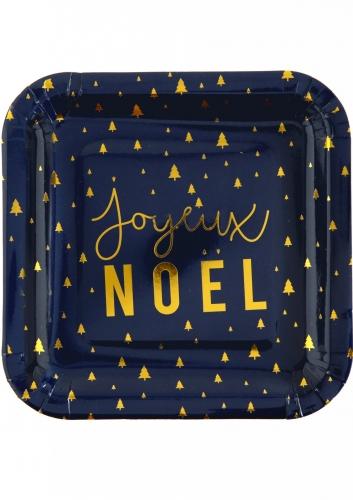 10 Assiettes en carton Joyeux Noël bleu marine et or 23 cm