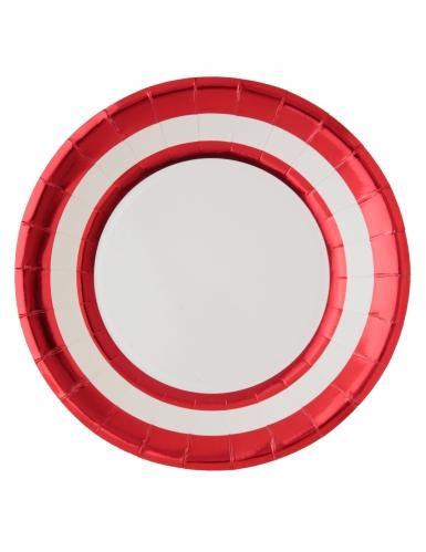 10 Assiettes en carton blanc et rouge métallisé 23 cm