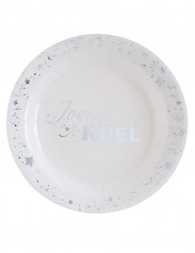 10 Assiettes en carton Joyeux Noël blanc et argenté métallisé 23 cm