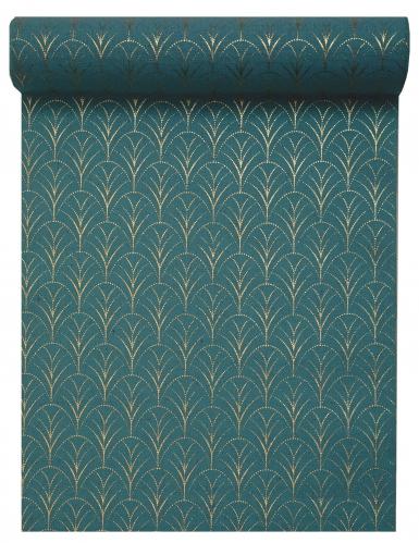 Chemin de table coton Art déco bleu canard et doré 28 cm x 3 m