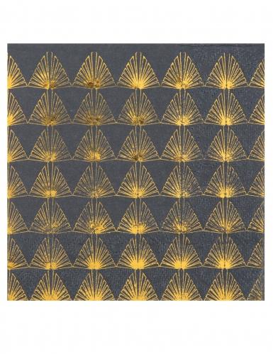 20 Petites serviettes en papier Art déco gris et doré métallisé 25 x 25 cm