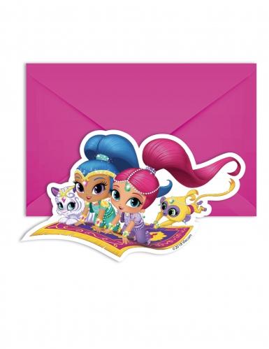 6 Cartes d'invitations et enveloppes Shimmer and Shine™ 14 x 9 cm