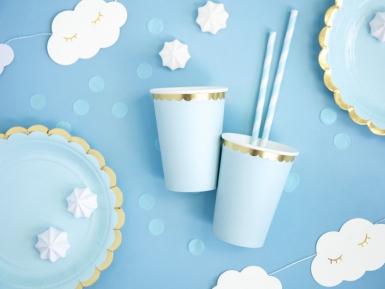 6 Gobelets en carton bleu ciel et dorure 220 ml-1