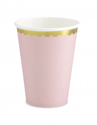 6 Gobelets en carton rose pâle et dorure 220 ml
