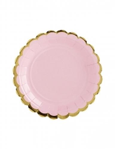 6 Petites assiettes en carton rose pâle et dorure 18 cm