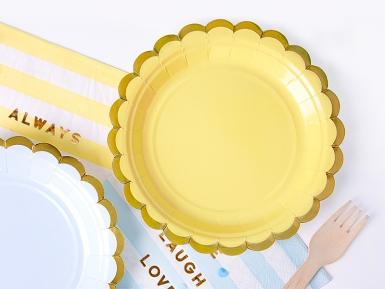 6 Petites assiettes en carton jaune et dorure 18 cm-1