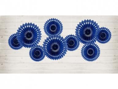3 Rosaces décoratives en papier bleu marine 20 à 30 cm-1