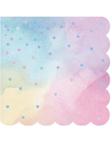 16 Petites serviettes en papier multicolores iridescentes 25 x 25 cm