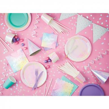 16 Petites serviettes en papier multicolores iridescentes 25 x 25 cm-1