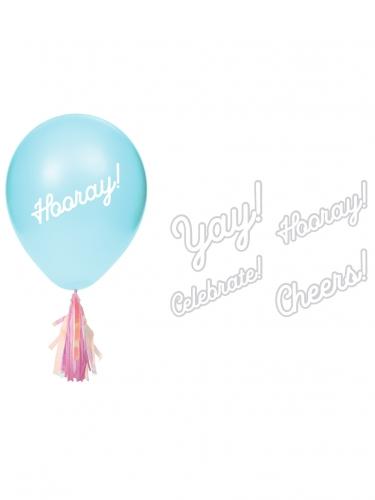 8 Ballons en latex avec tassels iridescentes et stickers 20,3 cm-1
