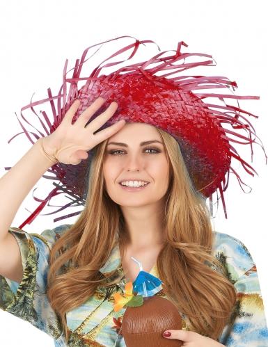 Chapeau de paille Hawaï rouge adulte-1