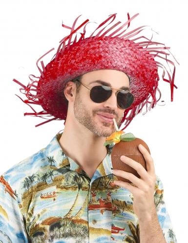 Chapeau de paille Hawaï rouge adulte-2