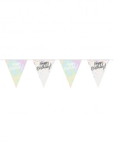 Guirlande fanions en plastique Happy Birthday irisée 4 m