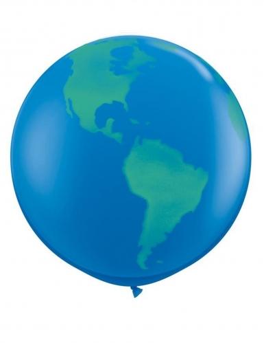 Ballon géant en latex Globe bleu foncé 91 cm
