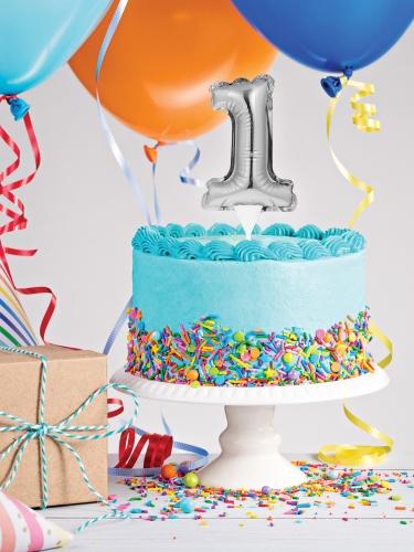 Pic à gâteau gonflable chiffre argenté 22 cm-2