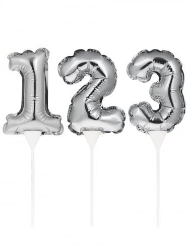 Pic à gâteau gonflable chiffre argenté 22 cm