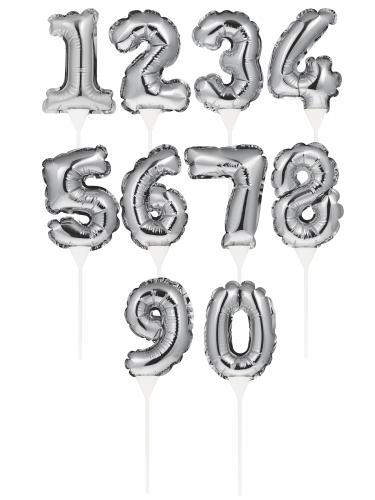Pic à gâteau gonflable chiffre argenté 22 cm-1