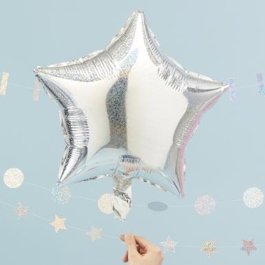 3 Ballons en aluminium Etoile holographique 45 cm-1