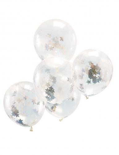 5 Ballons transparents avec confettis étoiles holographiques 30 cm