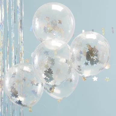 5 Ballons transparents avec confettis étoiles holographiques 30 cm-1