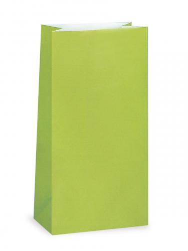 12 Sacs à cadeaux en papier vert citron 25 x 9 cm