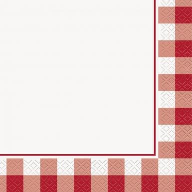 16 Serviettes en papier vichy rouge 33 x 33 cm