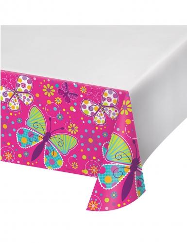 nappe en plastique papillon rose et blanche 137 x 274 cm d coration anniversaire et f tes. Black Bedroom Furniture Sets. Home Design Ideas