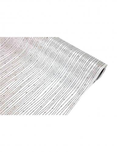 Chemin de table satin blanc à paillettes argentées 28 cm x 5 m