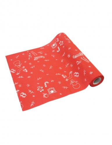 Chemin de table en toile Hiver rouge et blanc 28 cm x 4 m