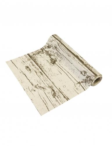 Chemin de table en toile effet bois 28 cm x 4 m