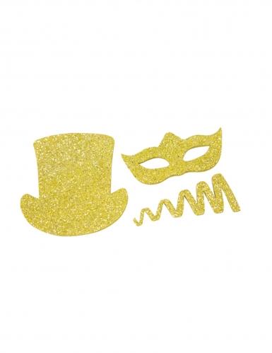 8 Confettis de table Chapeaux et cotillons pailletés dorés 5 cm