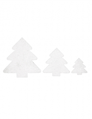 6 Décorations de table Sapin blanc à paillettes
