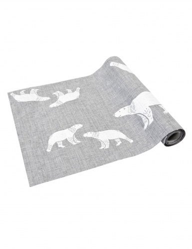 Chemin de table en toile gris Ours polaires 28 cm x 4 m