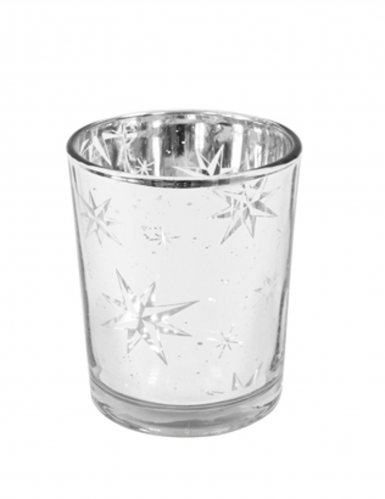 Photophore en verre étoile du berger argent 6,8 x 5,8 cm