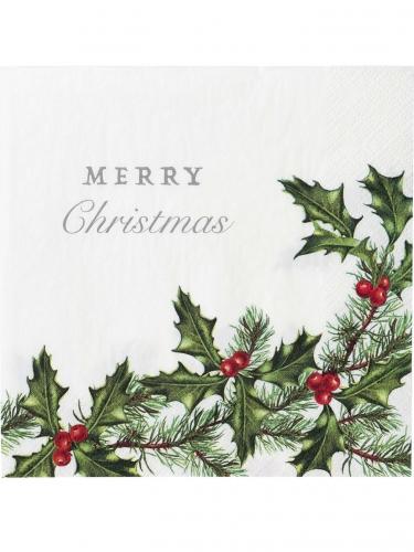 20 Serviettes en papier Houx de Noël 33 x 33 cm