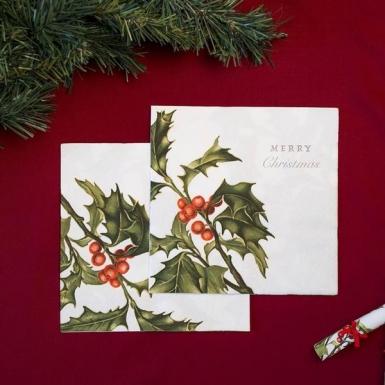 20 Serviettes en papier Houx de Noël 33 x 33 cm-1