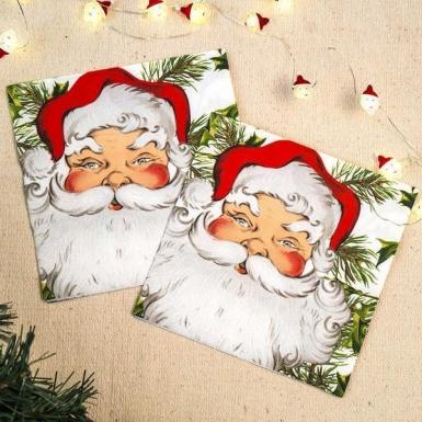 Entièrement neuf sous emballage NEUF 20 Noël Serviettes en papier-Père Noël//Père Noël en forme de 32 cm x 38 cm
