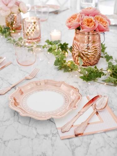 12 Assiettes en carton Porcelaine rose gold 23 cm-1