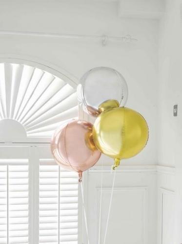 Ballon rond en aluminium rose gold métallisé 38 cm-1