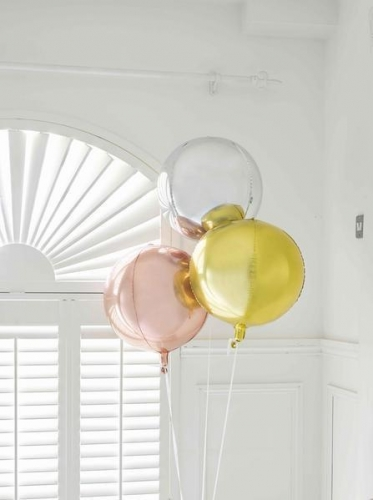 Ballon rond en aluminium argenté métallisé 38 cm-1