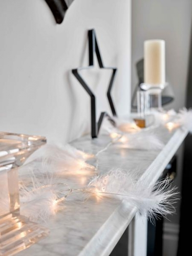 Guirlande lumineuse plumes blanches 2m-1