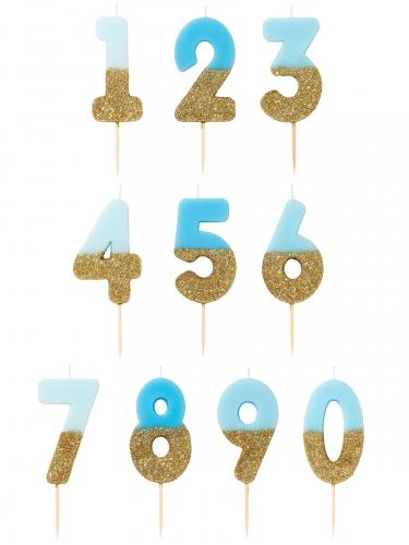 Bougie sur pique chiffres bleus et dorés pailletés 13,8 cm-1