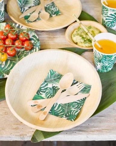 8 Gobelets en carton Tropical vert 250 ml-1