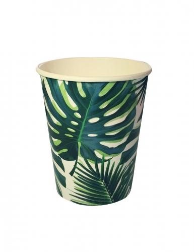 8 Gobelets en carton Tropical vert 250 ml
