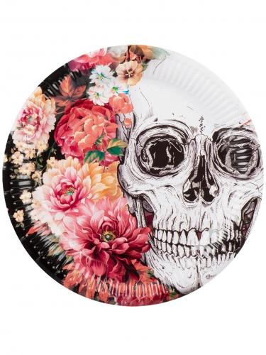 6 Assiettes en carton squelette fleuri 23 cm