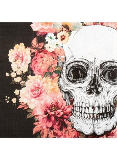 12 Serviettes en papier squelette fleuri 33 x 33 cm